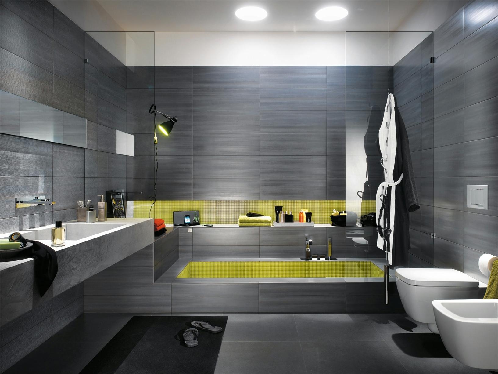 baño moderno con amarillo