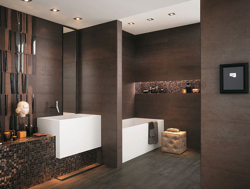 baño moderno en marron