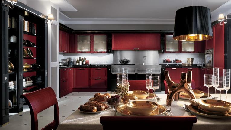 cocina moderna rojo con negro