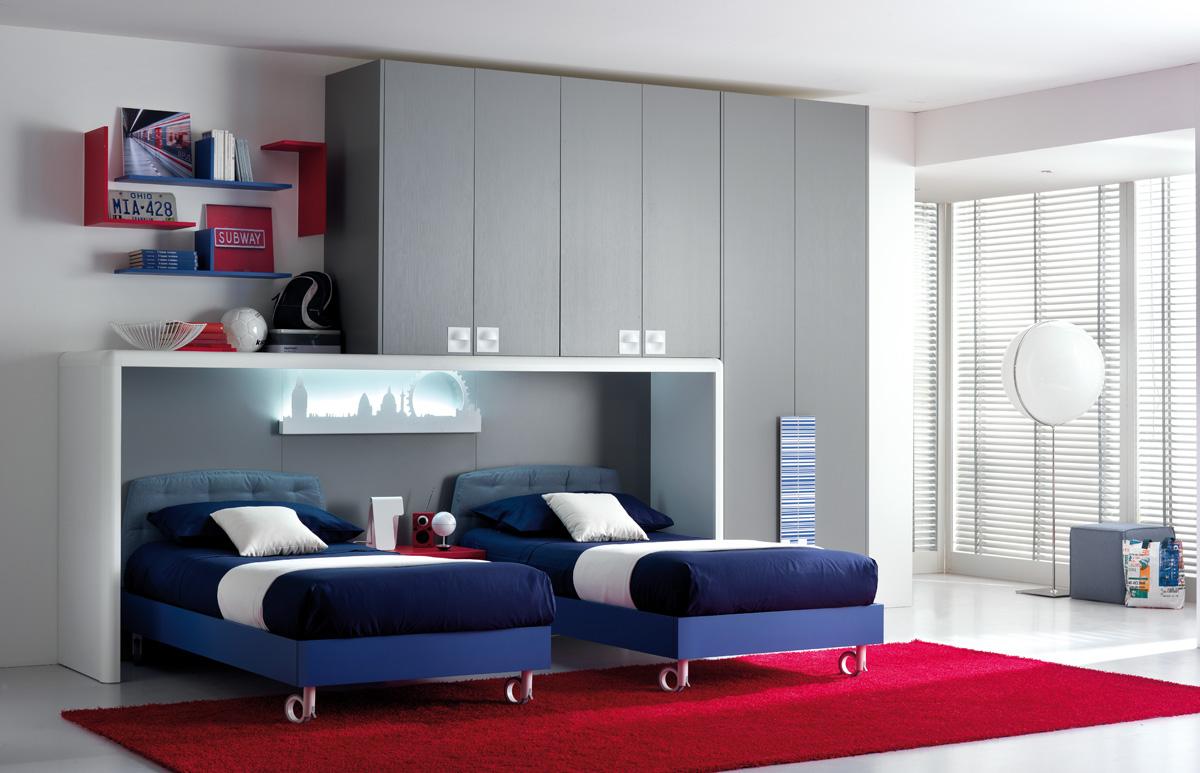 habitacion juvenil azulada