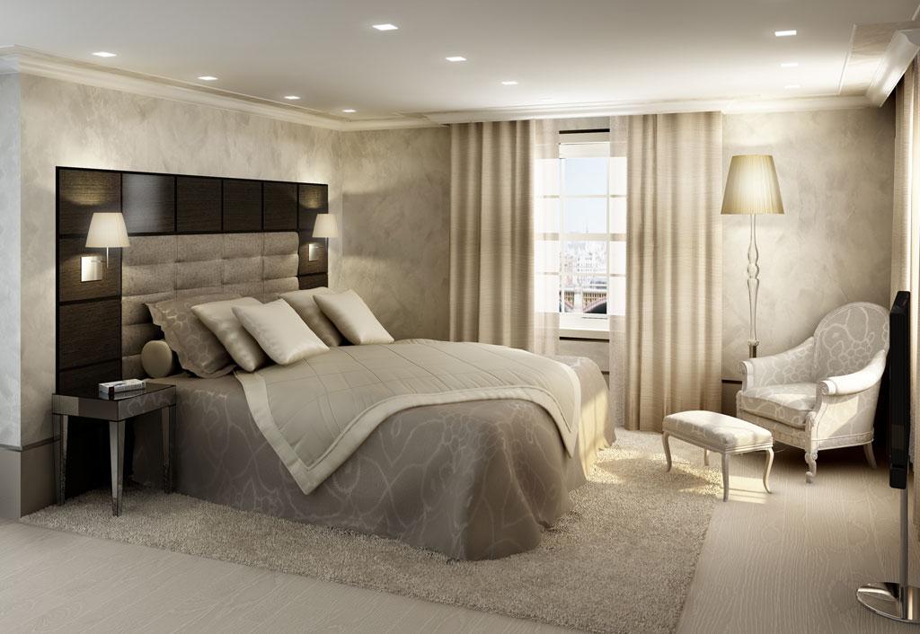 dormitorio moderno con grande cabezal