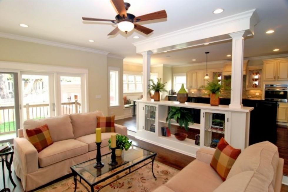 cocina e salon con pared divisoria