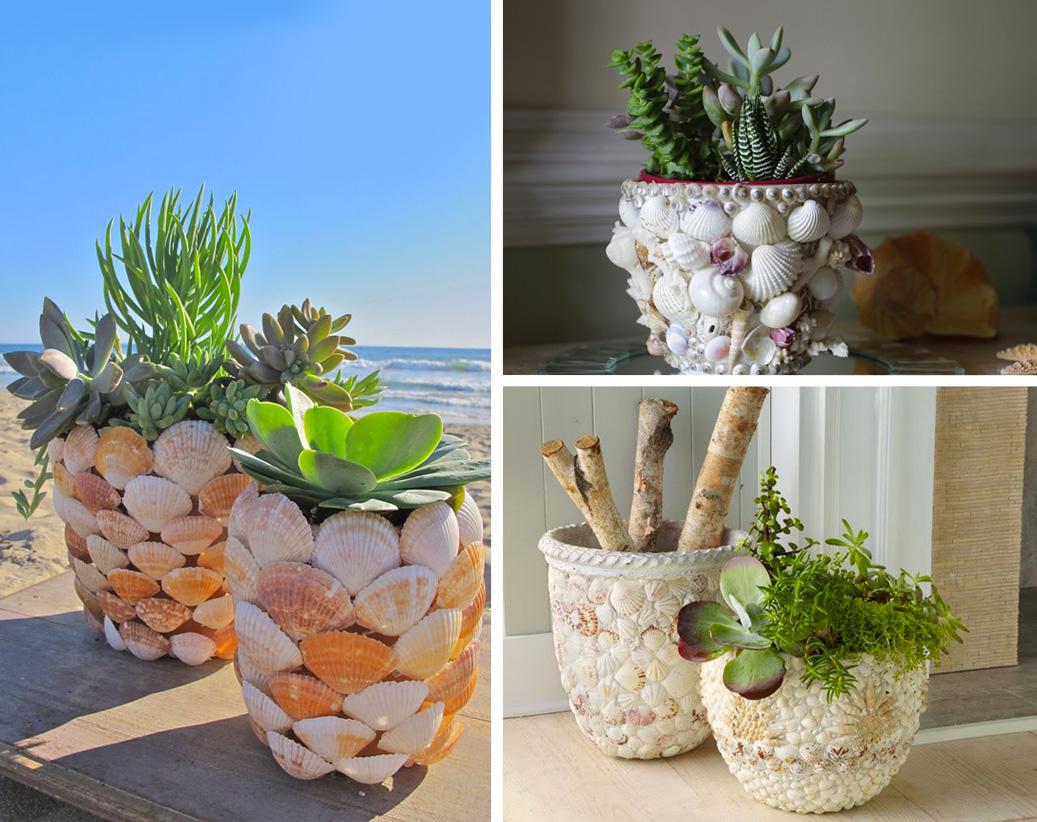 Decorazioni-fai-da-te-con-conchiglie-Vaso-per-piante