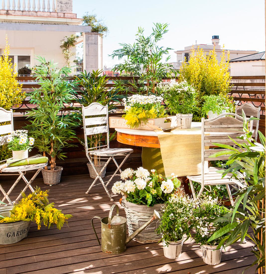 Terraza pequena con suelo de tarima sillas de jardin vintage plantas y flores 5ee9ef7b - Como hacer un jardin en una terraza ...